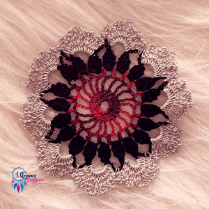 Handmade 5 inches Grey Black Red Colour Crochet Doilies - Mercerised Cotton - Utopian Craftsmen