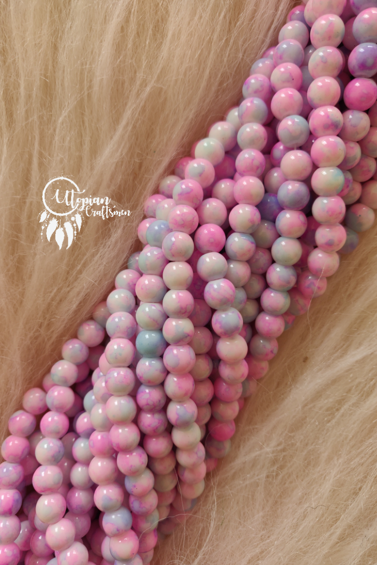Light Baby Pink Shaded Colour Round Glass Beads by Utopian Craftsmen - 8mm (50 Pieces) - Utopian Craftsmen