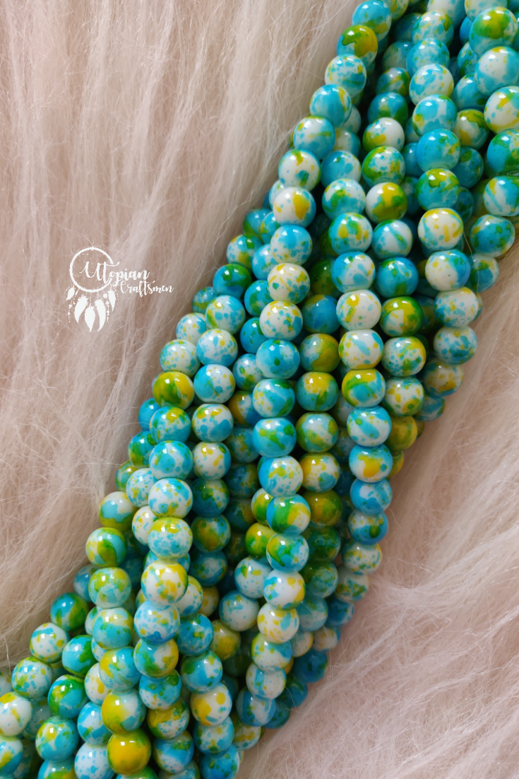 Light Blue Yellow Shaded Colour Round Glass Beads by Utopian Craftsmen - 8mm (50 Pieces) - Utopian Craftsmen