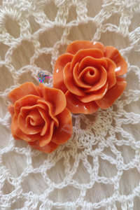 Light Orange Colour Flower Shape Acrylic Beads (2 Pieces) - Size 1 inches - Utopian Craftsmen