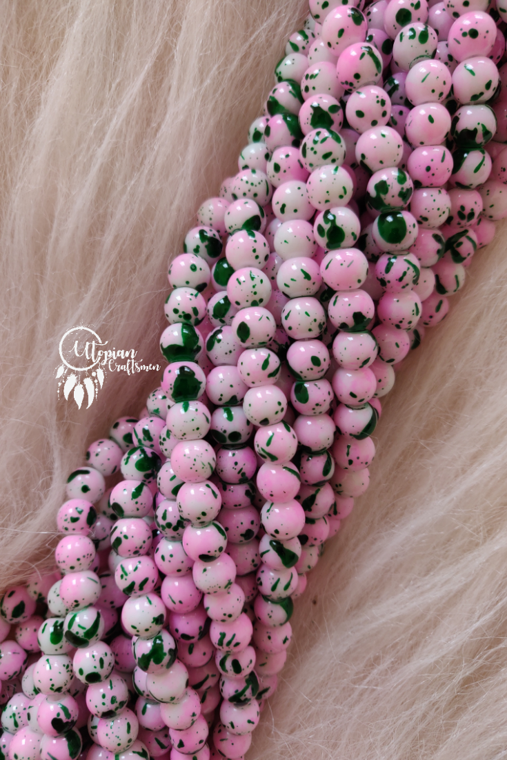 Light Pink Green Shaded Colour Round Glass Beads by Utopian Craftsmen - 8mm (50 Pieces) - Utopian Craftsmen