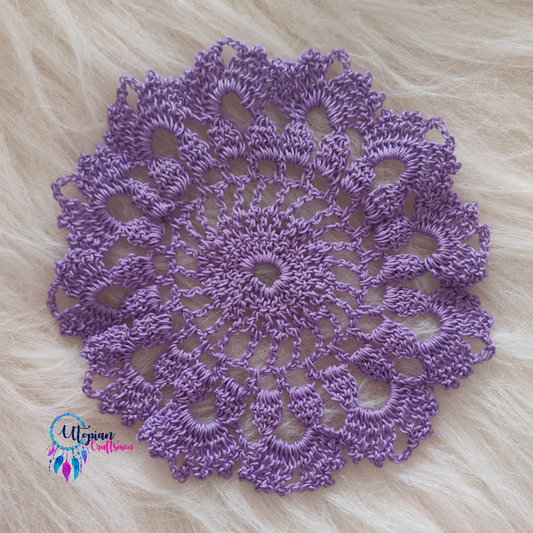 Handmade 5.4 inches Light Purple Colour Crochet Doilies - Mercerised Cotton - Utopian Craftsmen