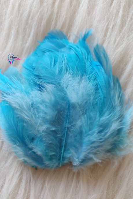 100 pcs Sky Blue Colour Chicken Feathers by Utopian Craftsmen - Utopian Craftsmen
