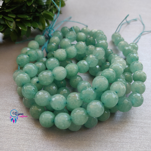 Light shaded Green Colour Round Agate Beads string - 10mm (Approx. 38 Beads) - Utopian Craftsmen