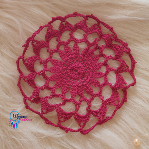 Handmade 6 inches Maroon Colour Crochet Doilies - Mercerised Cotton - Utopian Craftsmen