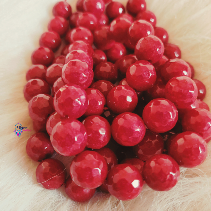Maroon Shaded Colour Round Agate Beads string - 12mm (30+ Beads) - Utopian Craftsmen