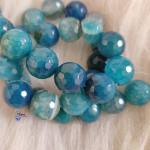 Mix Shaded Blue Shaded Colour Round Agate Beads string - 12mm (30+ Beads) - Utopian Craftsmen
