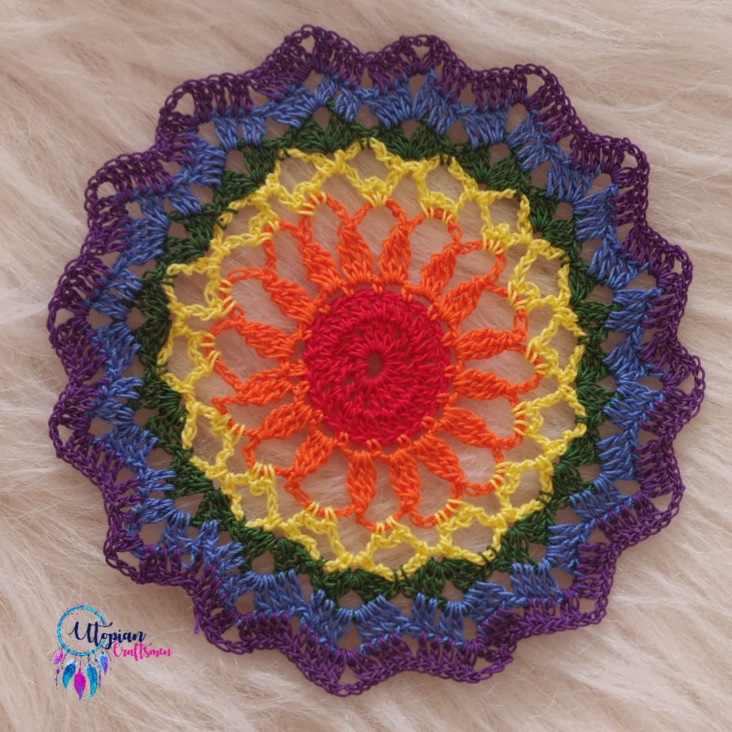 Handmade 6.5 inches MultiColour Crochet Doilies - Mercerised Cotton - Utopian Craftsmen