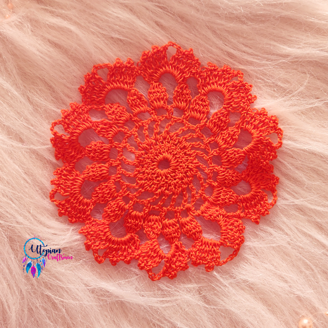 Handmade 5.5 inches Orange Crochet Doilies - Mercerised Cotton - Utopian Craftsmen