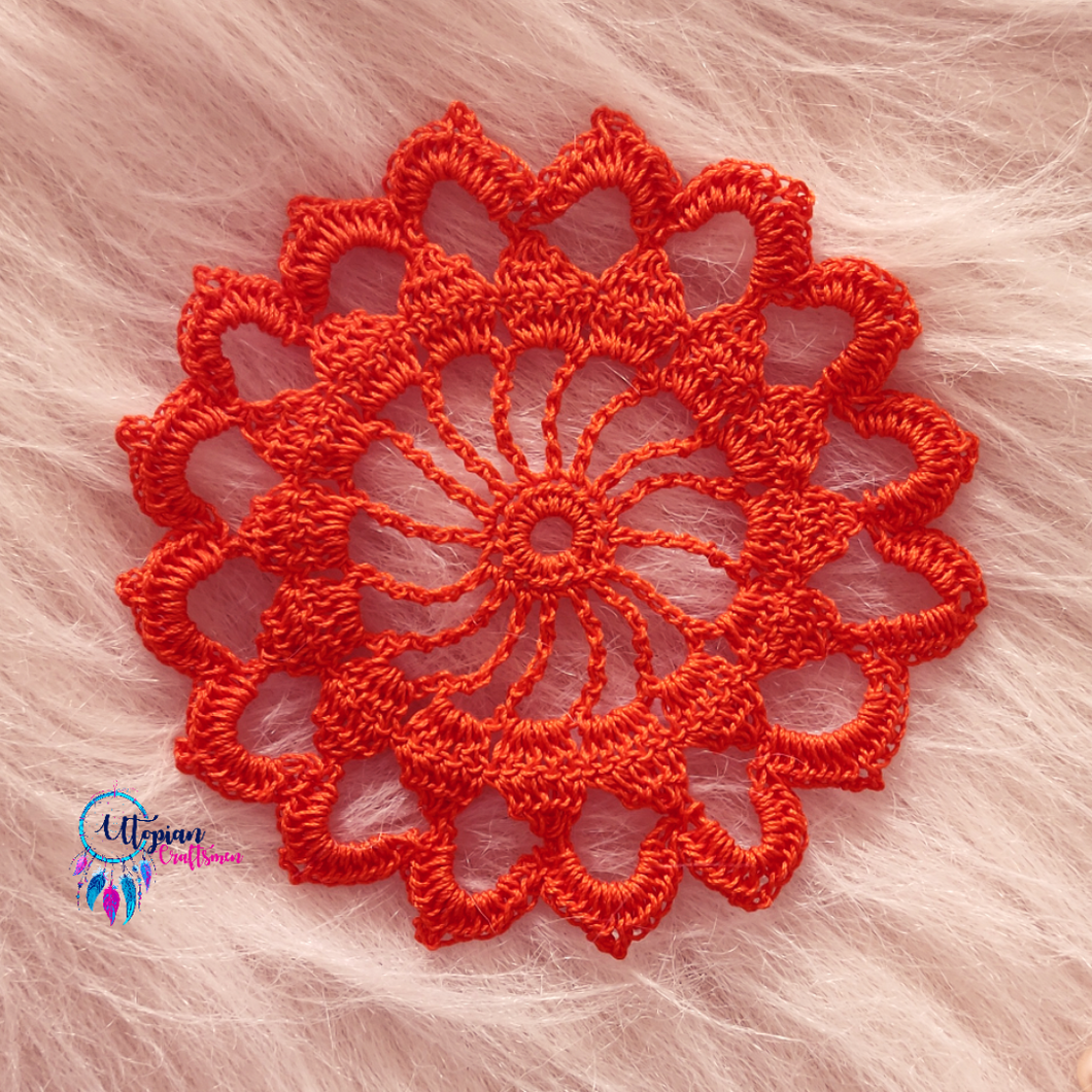 Handmade 5 inches Orange Crochet Doilies - Mercerised Cotton - Utopian Craftsmen
