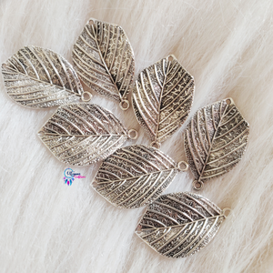 Oxidised Silver Leaf Charms by Utopian Craftsmen - 6 Pcs - Utopian Craftsmen