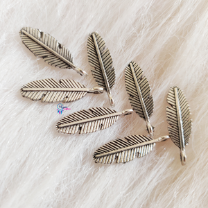 Oxidised Silver  colour Leaf Charms by Utopian Craftsmen - Approx 35 Pcs - Utopian Craftsmen