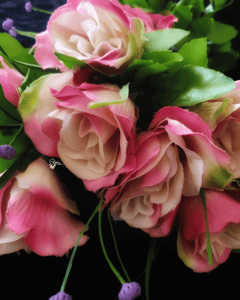 Pink and Cream Colour Rose Artificial Flowers online for Crafts, Home Decor and Wedding Decor