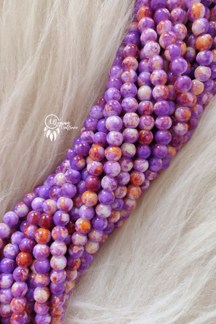 Purple Orange Shaded Colour Round Glass Beads by Utopian Craftsmen - 8mm (50 Pieces) - Utopian Craftsmen