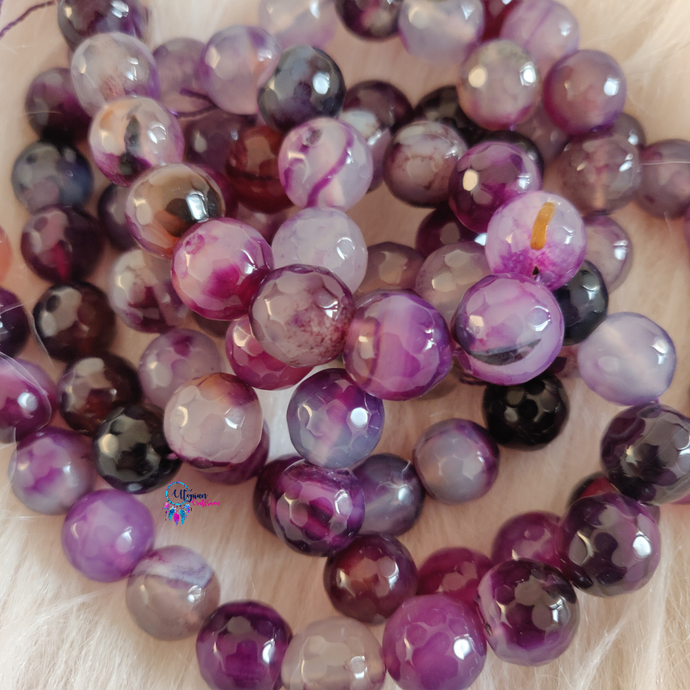 Purple Pink  mix Shaded Colour Round Agate Beads string - 12mm (30+ Beads) - Utopian Craftsmen