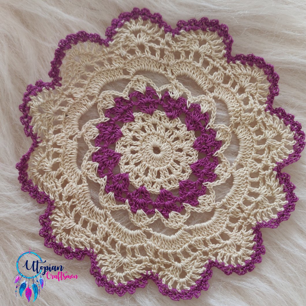 Handmade 6.5 inches Purple and Off White Crochet Doilies - Mercerised Cotton - Utopian Craftsmen
