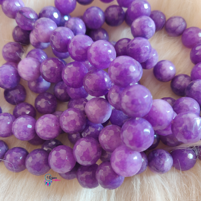 Purple shaded Colour Round Agate Beads string - 12mm (30+ Beads) - Utopian Craftsmen