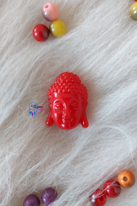Red Colour Gautam Buddha Shape Acrylic Beads 16mm by 14mm - Utopian Craftsmen