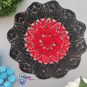 Handmade 10 inches Black & Red Colour Crochet Doilies - Mercerised Cotton - Utopian Craftsmen