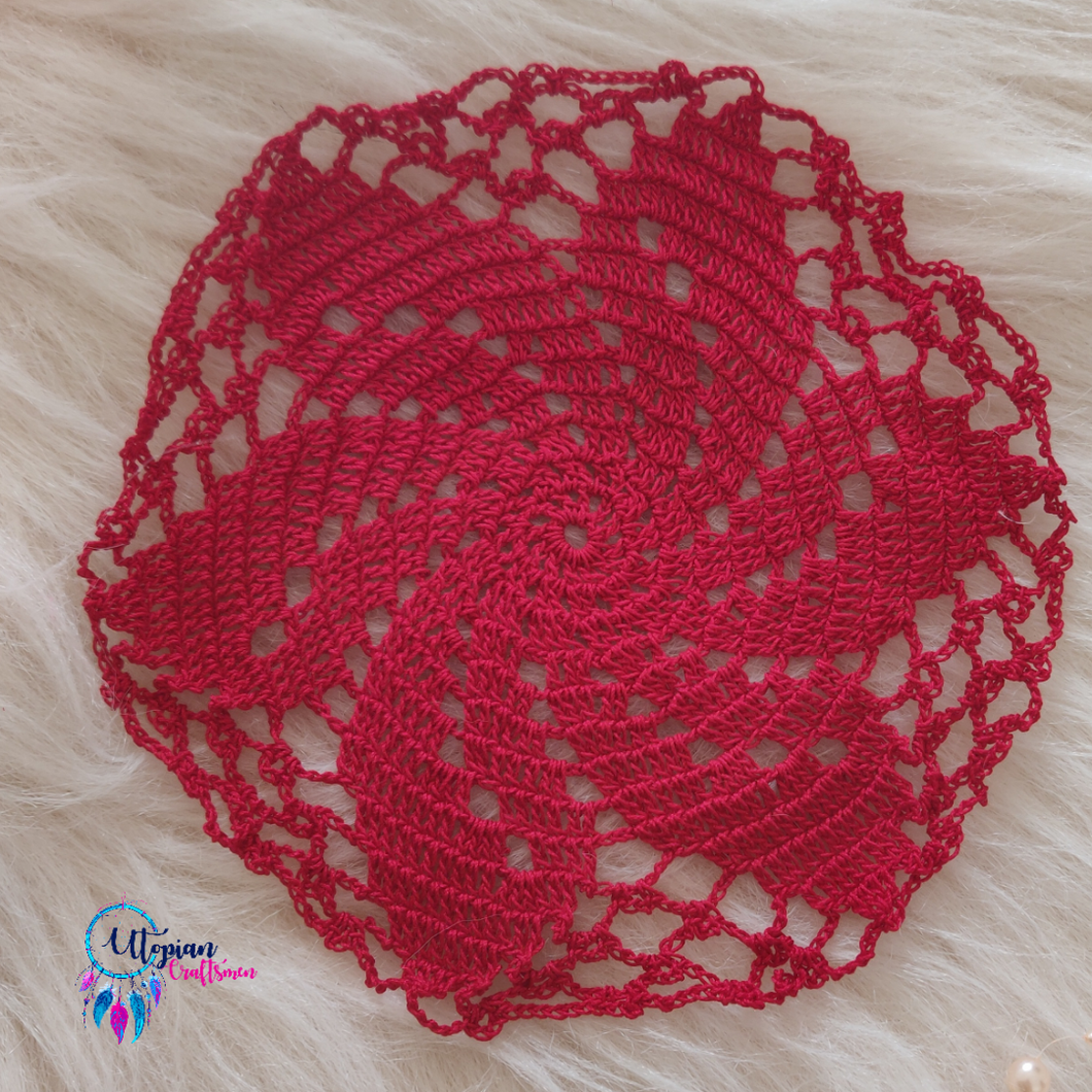 Handmade 7 inches Red Crochet Doilies - Mercerised Cotton - Utopian Craftsmen