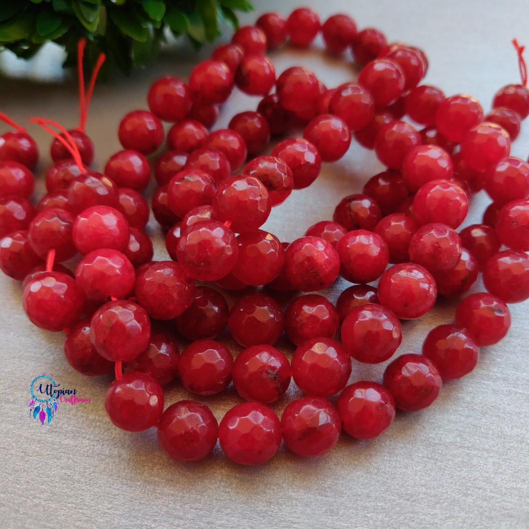 Red Colour Round Agate Beads string - 10mm (Approx. 38 Beads) - Utopian Craftsmen