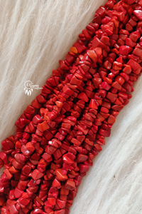 Red colour 6-10 mm Chipped Glass Beads -Approx 80 Pcs - Utopian Craftsmen