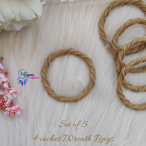 Set of 5 Rope Wreath Rings,  4 inches Circular - Natural Brown Colour - Utopian Craftsmen