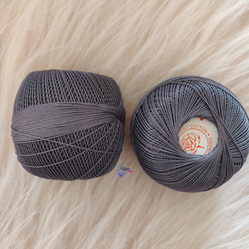 Grey Colour Mercer-Crochet Thread Balls (100Grams) - Red Rose