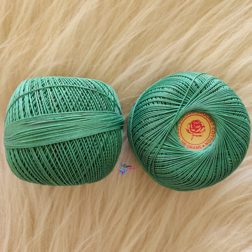 Sea Green Colour Mercer-Crochet Thread Balls (100Grams) - Red Rose