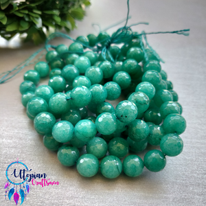 Shade of Green Colour Round Agate Beads string - 10mm (Approx. 38 Beads) - Utopian Craftsmen