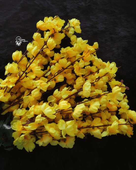 Shade of Yellow Colour Cherry Blossom Artificial Flowers online for Crafts, Home Decor and Wedding Decor