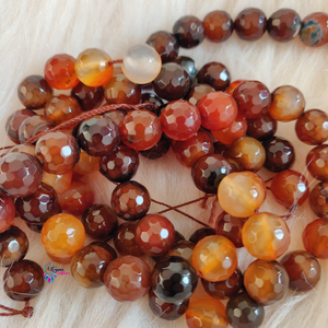 Shaded Brown mix Colour Round Agate Beads string - 12mm (30+ Beads)