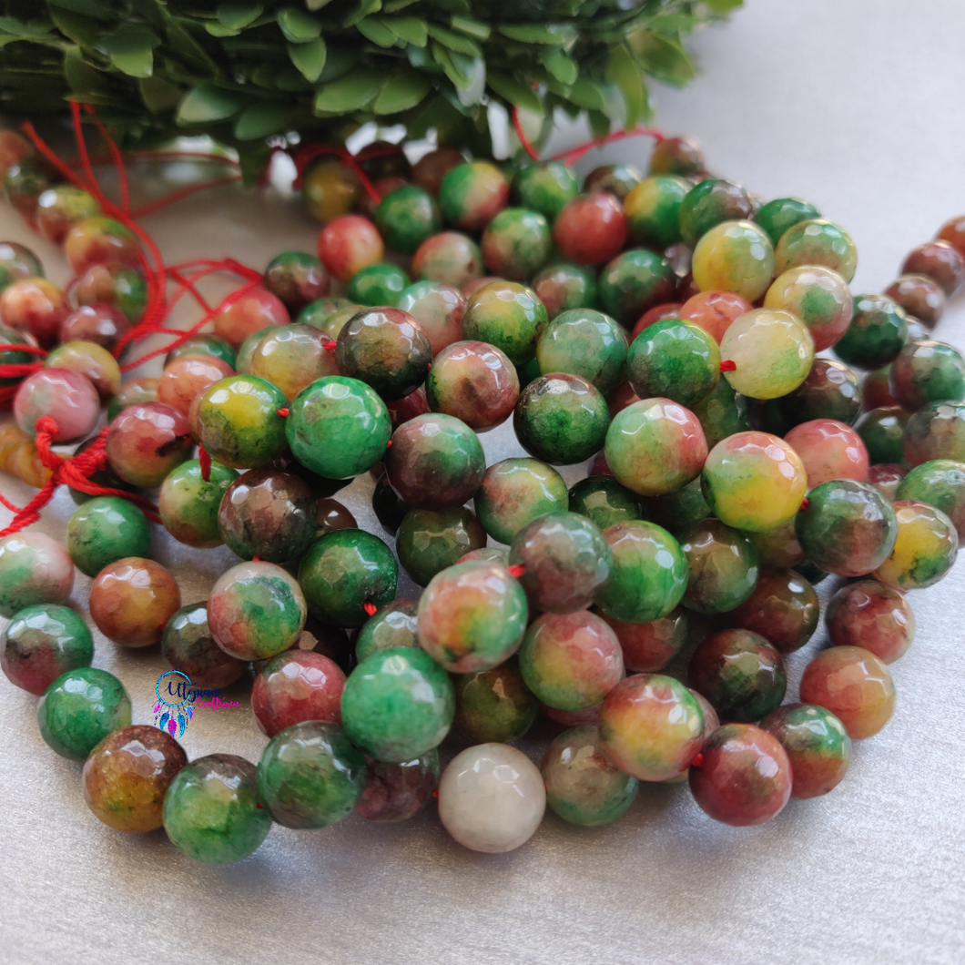 Shaded Green MultiColour Round Agate Beads string - 10mm (Approx. 38 Beads)