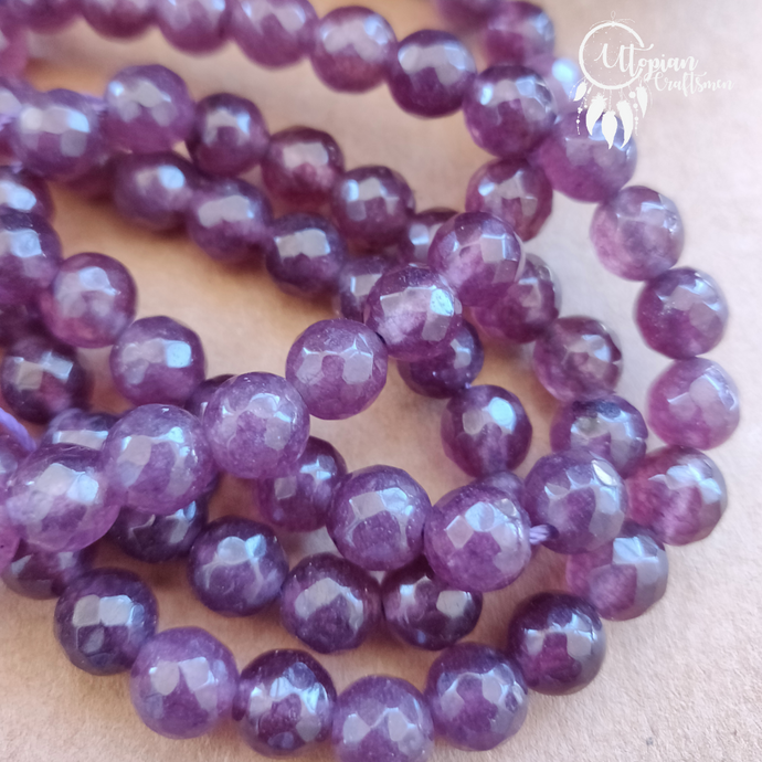 Shaded Light Purple Round Agate Beads string - 8mm (Approx. 45 Pieces) - Utopian Craftsmen