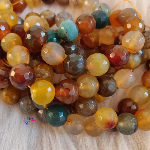 Shaded Mix Colour Round Agate Beads string - 12mm (30+ Beads)