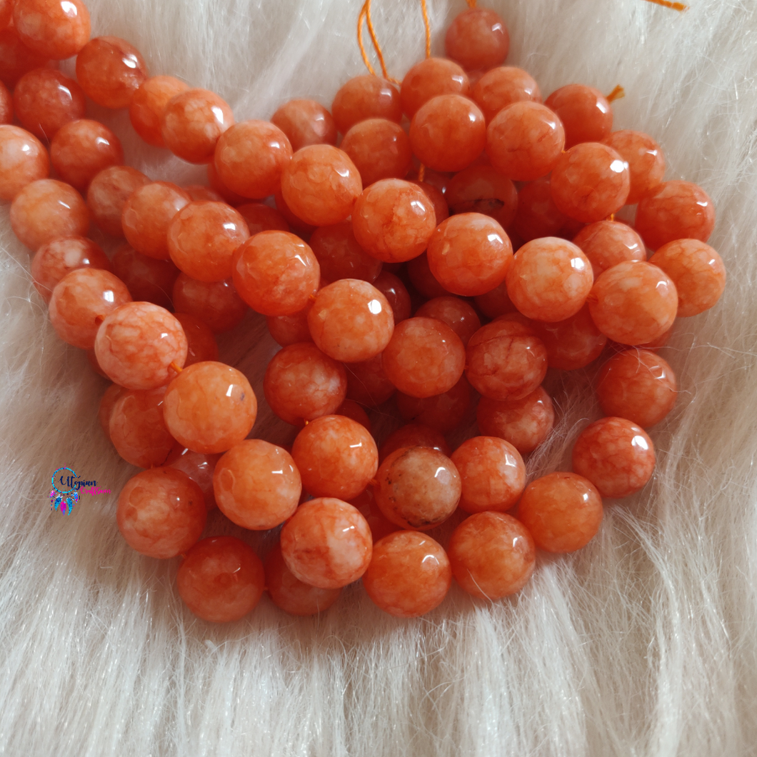 Shaded Orange Colour Round Agate Beads string - 12mm (30+ Beads)