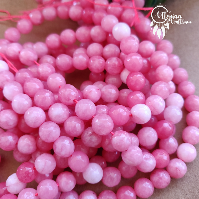 Shaded Pink White Round Agate Beads string - 8mm (Approx. 45 Pieces) - Utopian Craftsmen