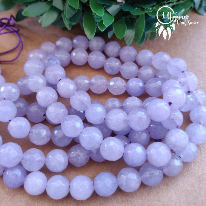 Transparent Shaded Light Purple Round Agate Beads string - 8mm (Approx. 45 Pieces) - Utopian Craftsmen