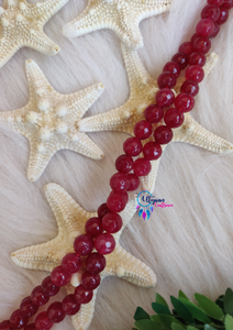 Shaded Red White Round Agate Beads string - 8mm (Approx. 45 Pieces) - Utopian Craftsmen