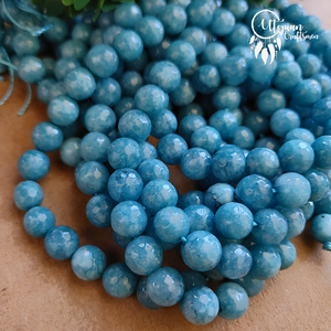 Shaded Dark Turkish Blue Colour Round Agate Beads string - 8mm (Approx. 45 Pieces) - Utopian Craftsmen