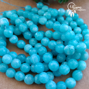 Shaded Turquoise Round Agate Beads string - 8mm (Approx. 45 Pieces) - Utopian Craftsmen