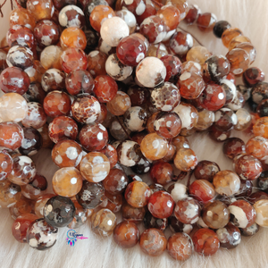 Shaded mix brown white Colour Round Agate Beads string - 12mm (30+ Beads)