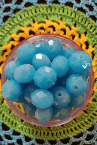 Sky Blue Colour 14mm Faceted Opaque Beads -10 Pcs - Utopian Craftsmen