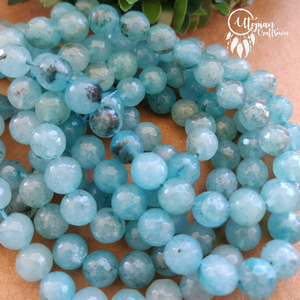 Transparent Shaded Blue Round Agate Beads string - 8mm (Approx. 45 Pieces) - Utopian Craftsmen