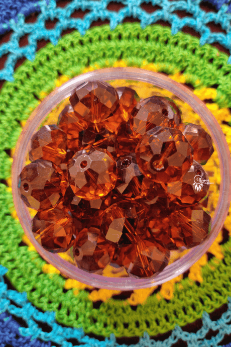 Transparent Brown Colour 14mm Faceted Beads