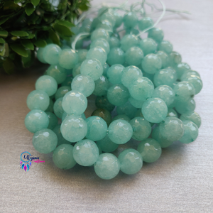 Transparent green Colour Round Agate Beads string - 10mm (Approx. 38 Beads)