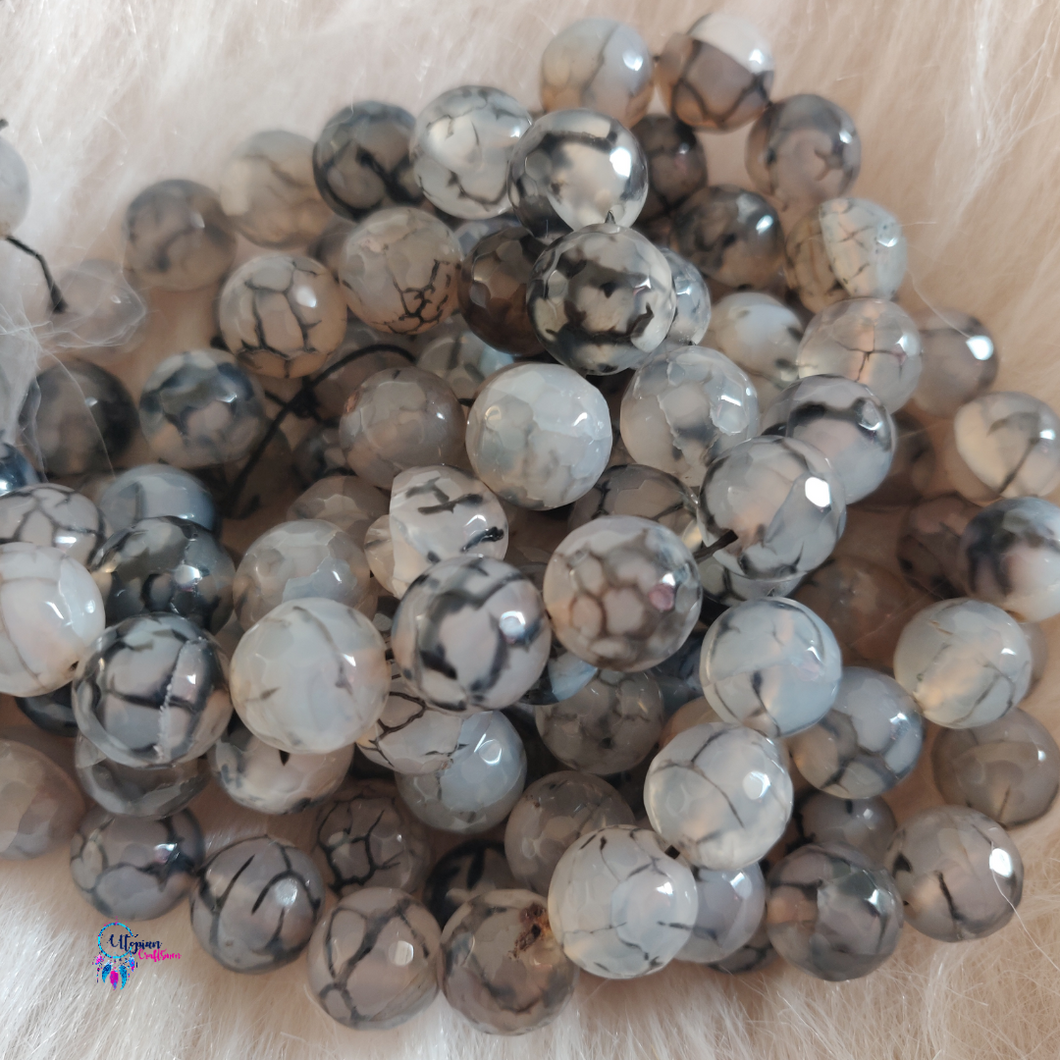 Transparent grey black Colour Round Agate Beads string - 12mm (30+ Beads)