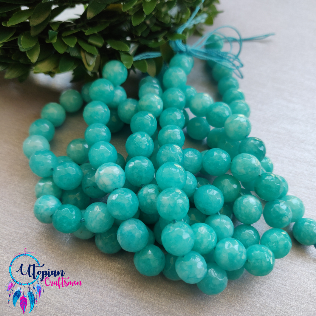 Turquoise Colour Round Agate Beads string - 10mm (Approx. 38 Beads)