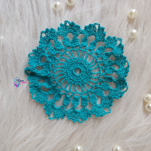 Handmade 5.5 inches Turquoise Green Colour Crochet Doilies - Mercerised Cotton