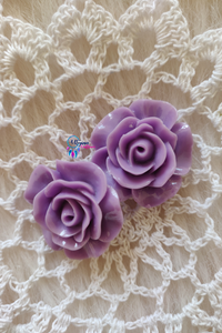 Violet Colour Flower Shape Acrylic Beads (2 Pieces) - Size 1 inches